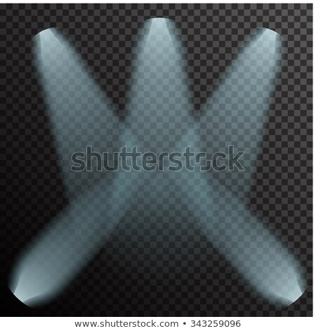 Realistic white neon glowing spotlights on transparent laid background Stock photo © Fosin