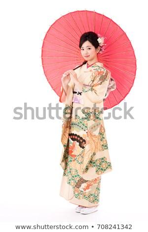 привлекательная девушка Японский зонтик изолированный черный модель Сток-фото © Elisanth