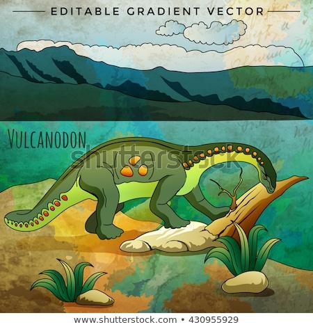 Dinoszaurusz élőhely tájkép háttér grafikus díszlet Stock fotó © ConceptCafe