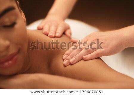 jonge · vrouw · genieten · massage · gelukkig · glimlachend · vrouw - stockfoto © deandrobot