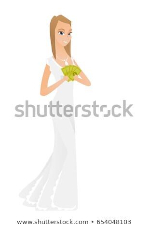 Gelukkig kaukasisch verloofde geld witte jurk Stockfoto © RAStudio