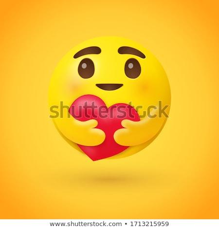 Vermelho corações expressões faciais ilustração sorrir cara Foto stock © bluering