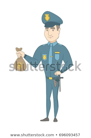 Young caucasian policeman holding a money bag. Stock photo © RAStudio