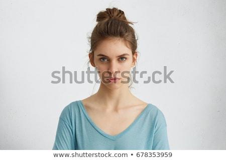 肖像 フェミニン 若い女性 黒い髪 ポーズ ストックフォト © deandrobot