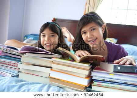 кровать · используя · ноутбук · девушки · домой · исследование - Сток-фото © is2