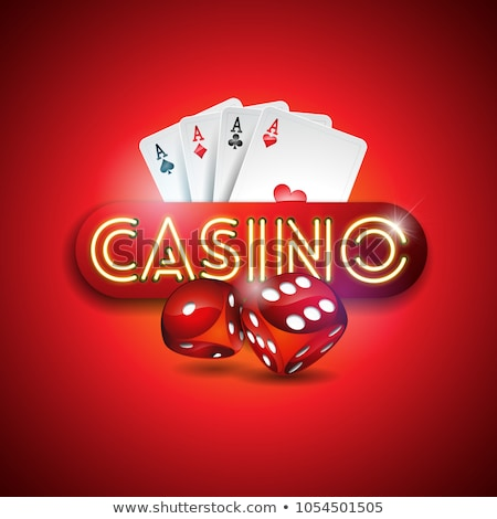 vector illustration on a casino theme with shiny neon light letter and poker cards on green backgrou stock photo © articular