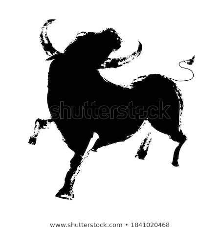 Cartoon Bull Silhouette Crazy Stock photo © cthoman