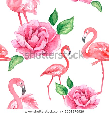 Beautiful bird pink flamingo with flowers isolated on white background. Vector cartoon close-up illu Stock photo © Lady-Luck