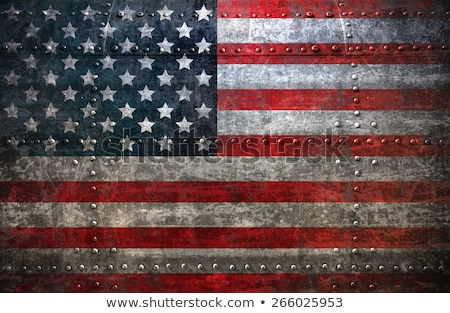 Flag of America on metalic wall Stock photo © colematt