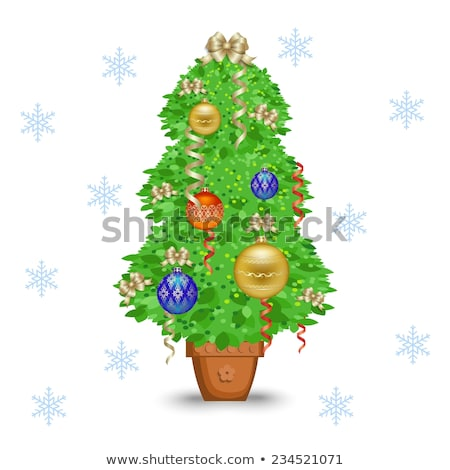Christmas Cartoon Icon - Small Xmas Tree in a Pot Stock photo © nazlisart