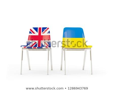 два стульев флагами Украина изолированный белый Сток-фото © MikhailMishchenko