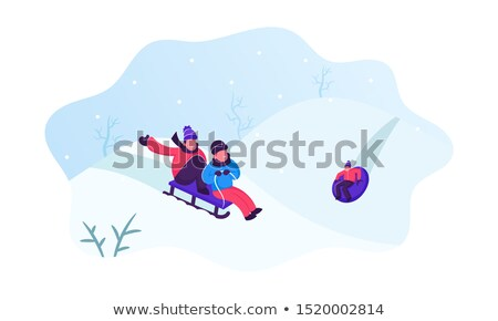 happy boy with sled on snow hill in winter Stock photo © dolgachov