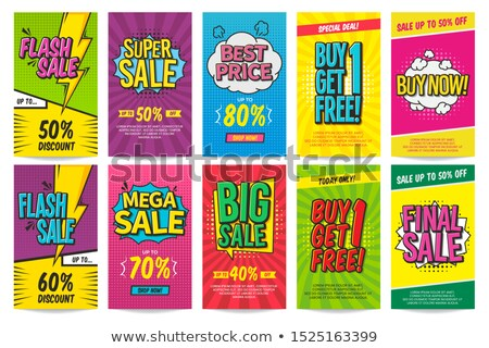 Mega Discount Posters Set Vector Illustration Stock photo © robuart