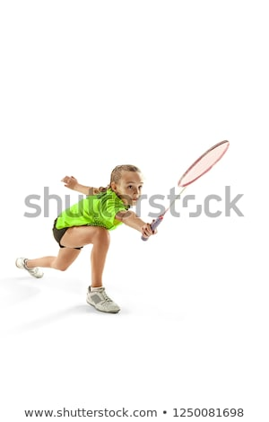 teenager with badminton rackets and shuttlecock Stock photo © dolgachov