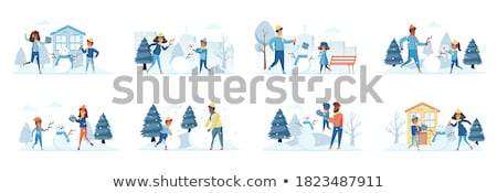 Wintertime Cold Season of Year People and Kids Stock photo © robuart