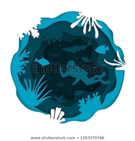 Niebieski falisty wody stylu działalności papieru Zdjęcia stock © SArts