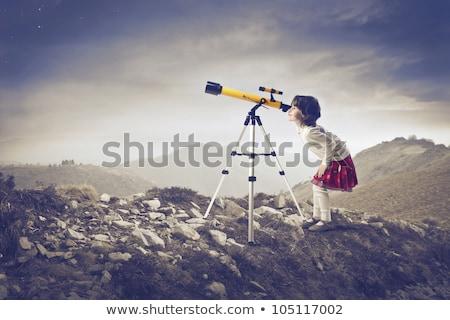 girl and telescope at sunset Stock photo © adrenalina