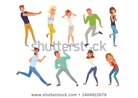 color design afraid character people set vector stock photo © pikepicture