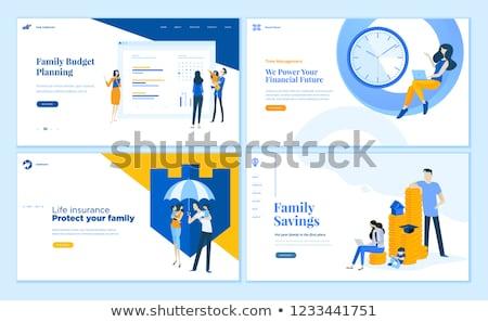 Társasági biztosítás leszállás oldal egyének esernyő Stock fotó © RAStudio