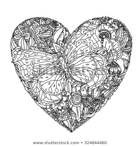 Zwarte hart contour vlinders artistiek vliegen Stockfoto © blackmoon979