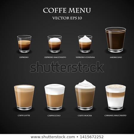 the glass of black coffee and a glass of milk mixing coffee and milk stock photo © galitskaya