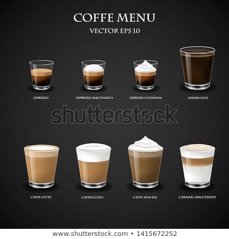 Glas zwarte koffie melk koffie voedsel ontwerp Stockfoto © galitskaya