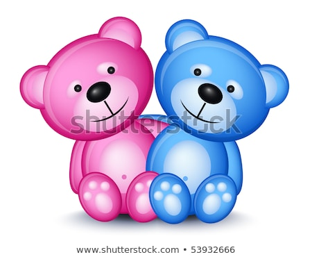 Teddy bear couple pink and blue Stock photo © tilo