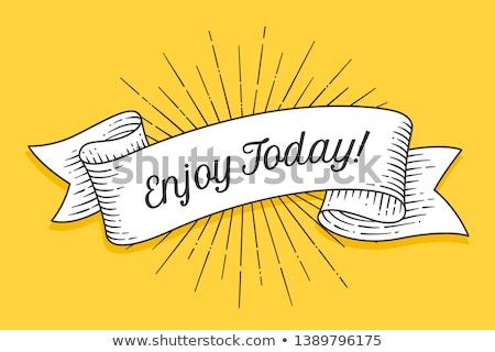 szczęśliwy · dzisiaj · kartkę · z · życzeniami · banner · rysunek · line - zdjęcia stock © foxysgraphic