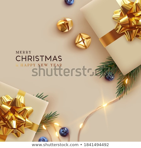christmas card with gift boxes and fir tree branch stock photo © karandaev