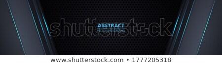 Streszczenie geometryczny niebieski szeroki banner układ Zdjęcia stock © SArts