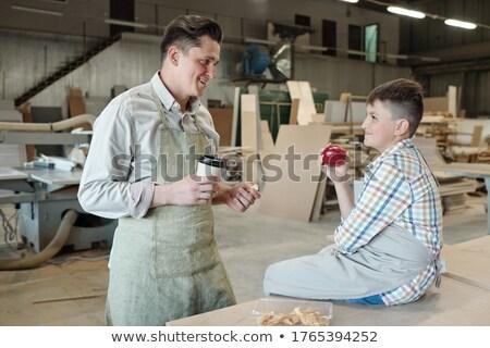 父から息子 話し 笑みを浮かべて 朝食 キッチン バナー ストックフォト © galitskaya