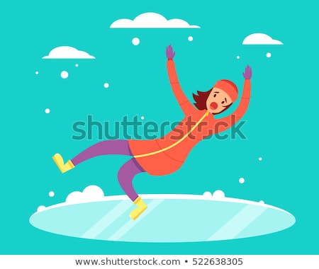 Young Woman Slips And Falls Down On Snowy Road Stock photo © AndreyPopov
