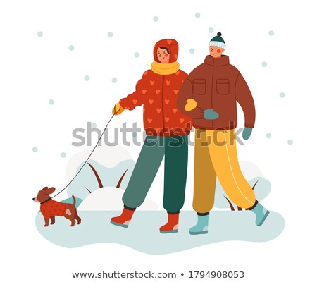 Couple or Friends Walking in Winter Park Vector Stock photo © robuart