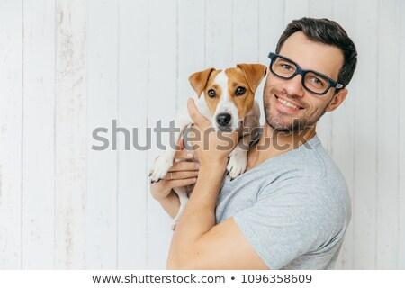 Poziomy portret przystojny wesoły człowiek okulary Zdjęcia stock © vkstudio