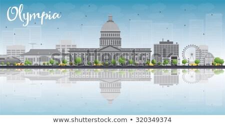 ストックフォト: Olympia Washington Skyline With Grey Buildings And Reflections