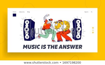 Muziek landing pagina hip hop zanger Stockfoto © RAStudio