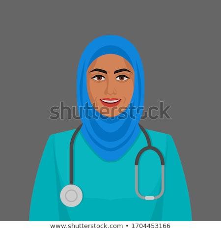 musulmanes · femenino · médico · hospital · feliz · fondo - foto stock © zurijeta