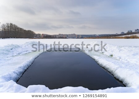 snow hole in one Stock photo © morrbyte