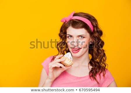 Crazy for chocolate, pretty young woman eating chocolate Stock photo © dacasdo