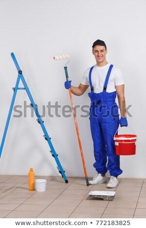 férfi · hosszú · festék · ház · építkezés · munka - stock fotó © photography33