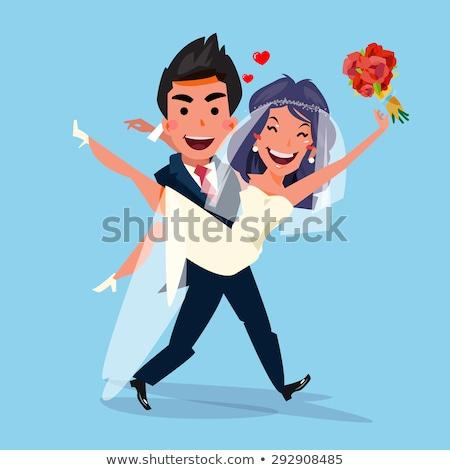 vőlegény · menyasszony · esküvő · nő · virág · szeretet - stock fotó © clipart_design