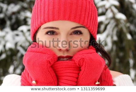 Nő visel összeillő kalap sál zöld Stock fotó © photography33