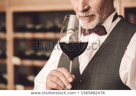 Man wijnproeven Rood hoofd alcohol drinken Stockfoto © photography33