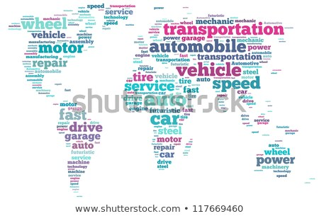 Automotive industry, clouds of words and sports car Stock photo © marekusz