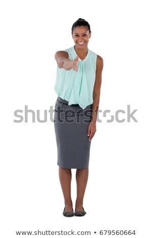 Geschäftsfrau Vereinbarung weiß Business Gesicht Zeichen Stock foto © wavebreak_media