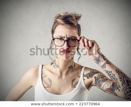 Mérges tetovált nő felnőtt kaukázusi tetoválások Stock fotó © iofoto