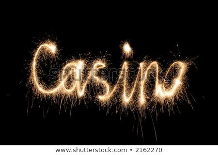 casino · woord · sterretje · nacht · zwarte · lichten - stockfoto © Paha_L