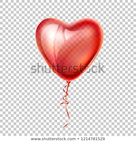 Rosso cuore pallone nastro biglietto d'auguri wedding Foto d'archivio © Zerbor