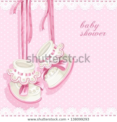 delicate baby shower card with pram Stock photo © balasoiu