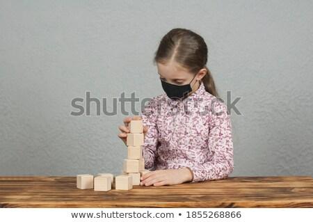 молодые ребенка играет столе рабочих Сток-фото © gewoldi